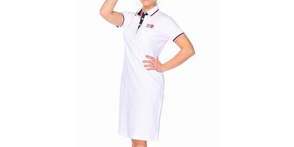 Dámské bílé bavlněné šaty M. Conte s límečkem