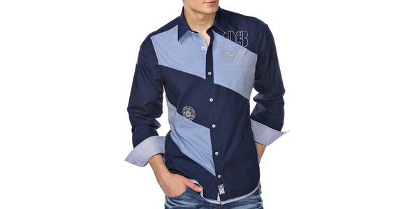 Pánská modrá košile dvou barev M. Conte
