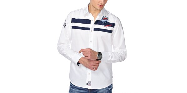 Pánská bílá košile s modrými pruhy na hrudi M. Conte