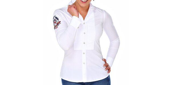 Dámská bílá košile s výšivkou M. Conte