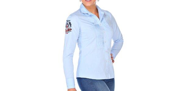 Dámská světle modrá košile s výšivkou M. Conte