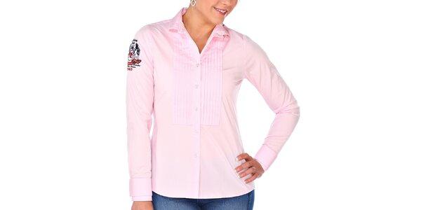 Dámská růžová košile s výšivkou M. Conte