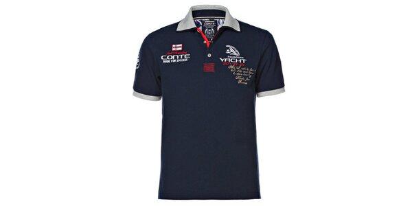 Pánské tmavě modré polo tričko s šedým límcem M. Conte