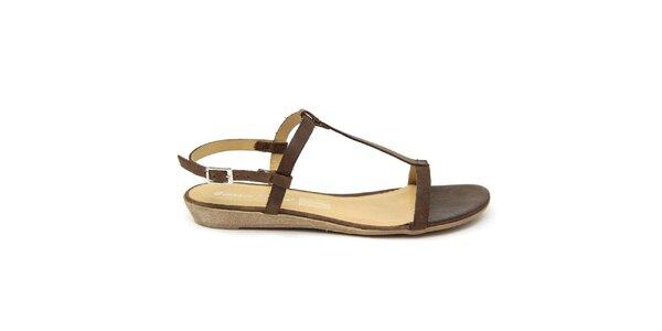 Dámské tmavě hnědé kožené sandálky Giorgio Picino
