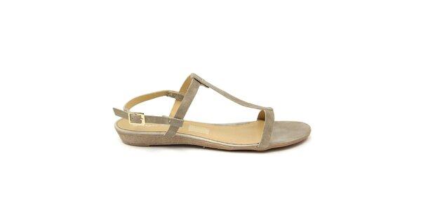 Dámské šedobéžové kožené sandálky Giorgio Picino