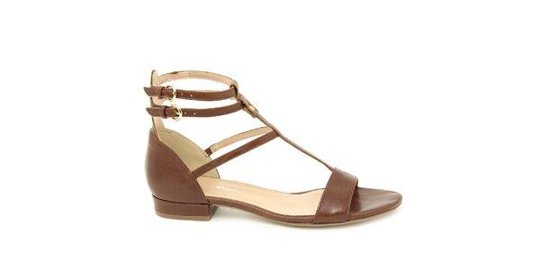 Dámské hnědé kožené gladiátorské sandálky Giorgio Picino