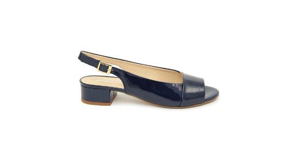 Dámské kobaltové kožené sandálky s podpatkem Giorgio Picino