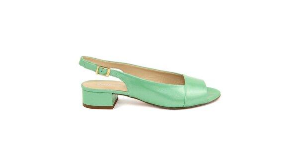 Dámské mentolové kožené sandálky s podpatkem Giorgio Picino