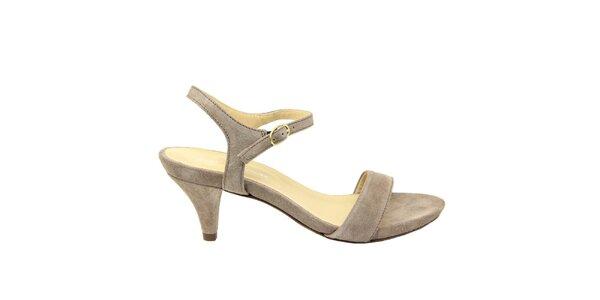 Dámské šedohnědé semišové sandálky na nízkém podpatku Giorgio Picino