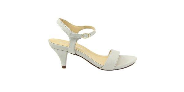 Dámské bílé semišové sandálky na nízkém podpatku Giorgio Picino