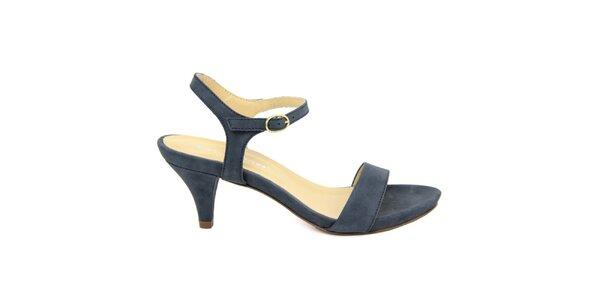 Dámské tmavě modré kožené sandálky na nízkém podpatku Giorgio Picino