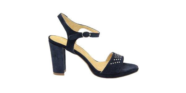 Dámské tmavě modré semišové sandálky s ozdobnými cvočky Giorgio Picino