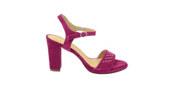 Dámské purpurové semišové sandálky s ozdobnými cvočky Giorgio Picino