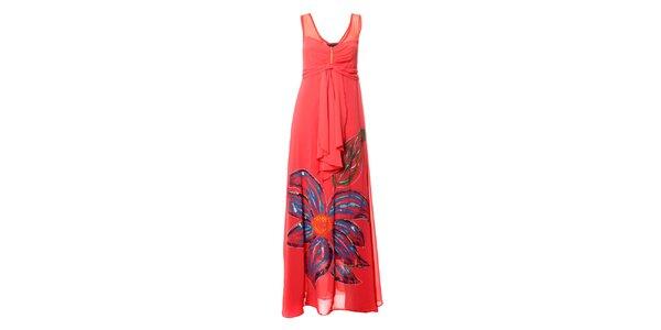 Dámské lososové dlouhé šaty s výraznou květinou Via Belucci
