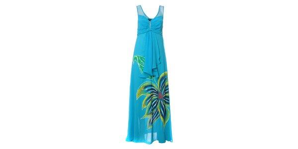 Dámské nebesky modré dlouhé šaty s výraznou květinou Via Belucci