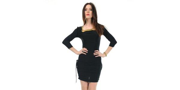 Dámské černé šaty Via Bellucci se zlatými korály