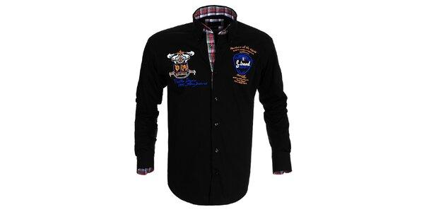 Pánská černá košile s výšivkami Pontto