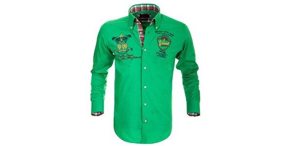 Pánská zelená košile s výšivkami Pontto
