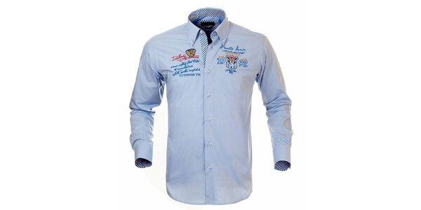 Pánská světle modrá košile s výšivkami Pontto