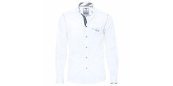 Pánská bílá košile s pruhovanými manžetami Pontto