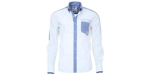 Pánská bílá košile s modrými prvky Pontto
