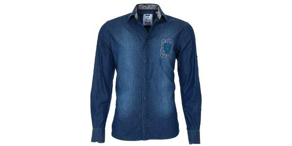 Pánská modrá džínová košile s šisováním Pontto
