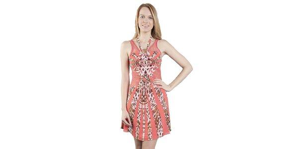 Dámské růžovo-hnědé leopardí šaty Via Bellucci