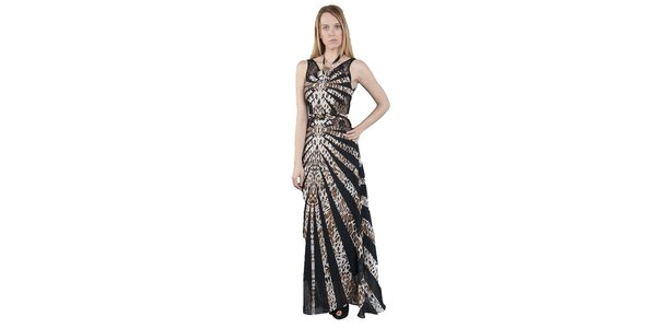 Dámské dlouhé černo-hnědé šaty Via Bellucci s leopardím vzorem