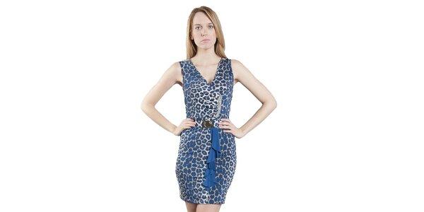 Dámské modré leopardí šaty Via Bellucci