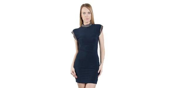 Dámské tmavě modré šaty Via Bellucci s korálkovým lemem
