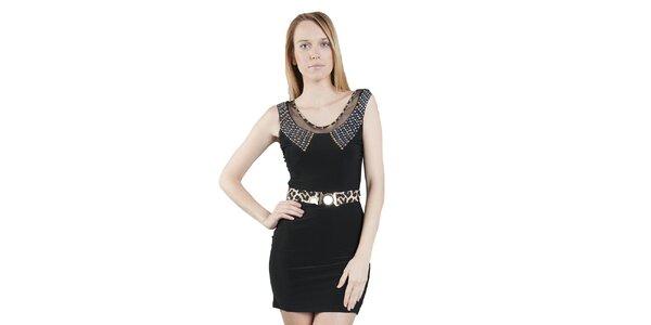 Dámské černé šaty Via Bellucci s korálkovým límcem