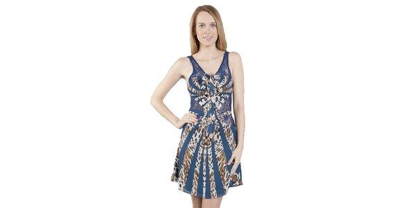 Dámské modro-hnědé leopardí šaty Via Bellucci