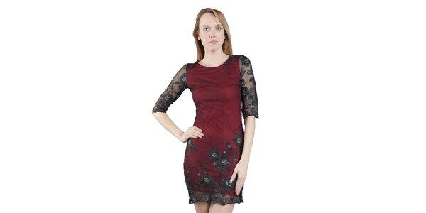 Dámské pouzdrové šaty s krajkou Via Bellucci