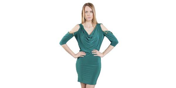 Dámské zelené šaty s průstřihy Via Bellucci