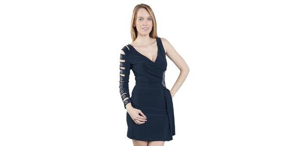 Dámské tmavě modré šaty s jedním rukávem Via Bellucci