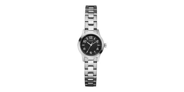 Dámské stříbrné hodinky s černým ciferníkem