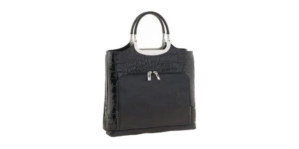 Dámská černá kožená lesklá kabelka s kapsami Ore 10