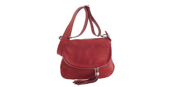 Dámská rudá kožená kabelka přes rameno se střapcem Ore 10