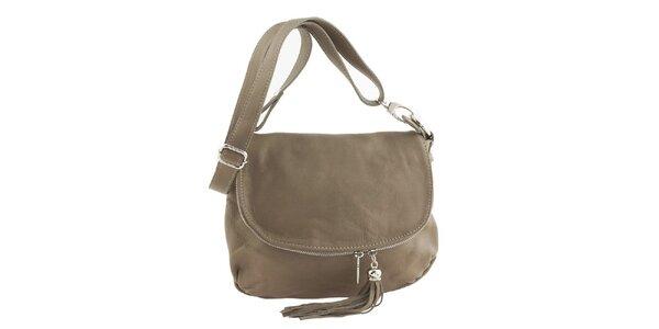 Dámská béžová kožená kabelka přes rameno se střapcem Ore 10