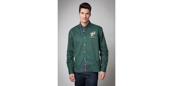 Pánská tmavě zelená košile Valecuatro