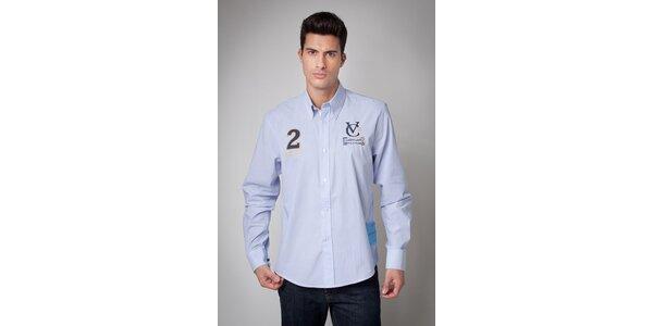 Pánská světle modrá košile Valecuatro s úzkým proužkem