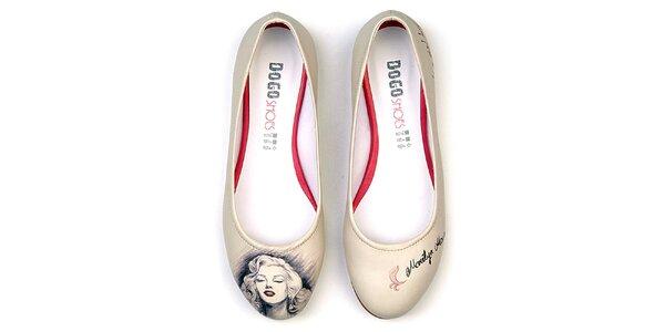 Dámské krémové balerínky Dogo s motivem Marilyn Monroe