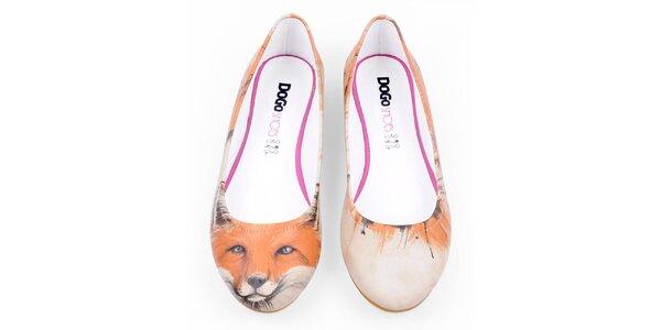 Dámské krémové balerínky s motivem záhadné lišky Dogo