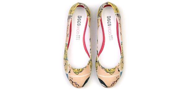 Dámské barevné balerínky s pop-artovým motivem Dogo