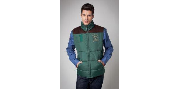 Pánská tmavě zelená prošívaná vesta Valecuatro