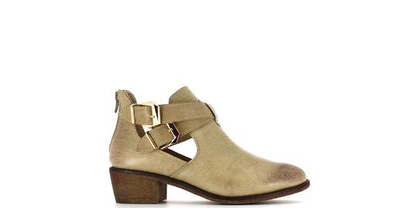 Dámské béžové boty s průstřihy a dvěma přezkami Shoes and the City