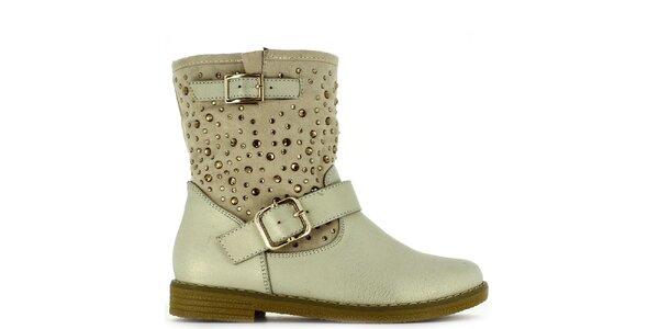 Dámské bílo-béžové kotníčkové boty s kamínky Shoes and the City