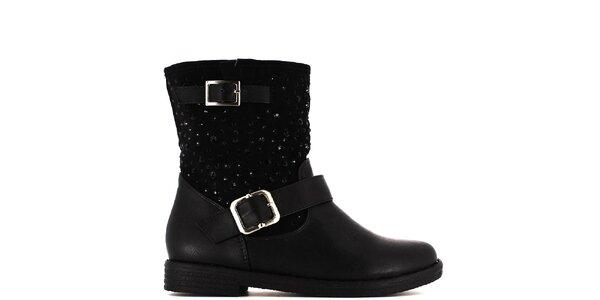 Dámské černé kotníčkové boty s kamínky Shoes and the City