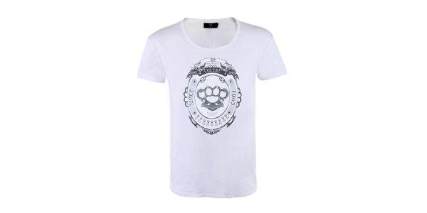 """Pánské bílé tričko Ron Abraham s černým potiskem """"Colére"""""""