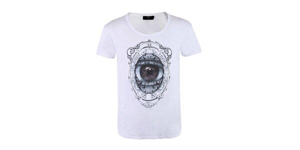 """Pánské bílé tričko Ron Abraham s černým potiskem """"Envie"""""""